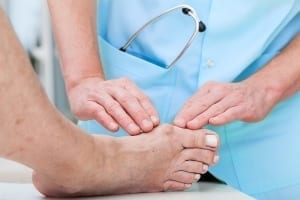 Varus valgus and Hallux valgus or bunion on middle aged woman foot